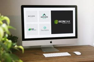 Logoland custom logo design work on computer screen