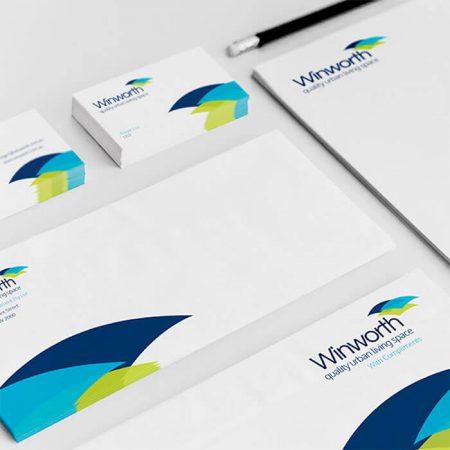 Winworth logo and branding design work by Logoland