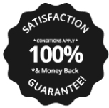 100% satisfaction and money back guarantee badge