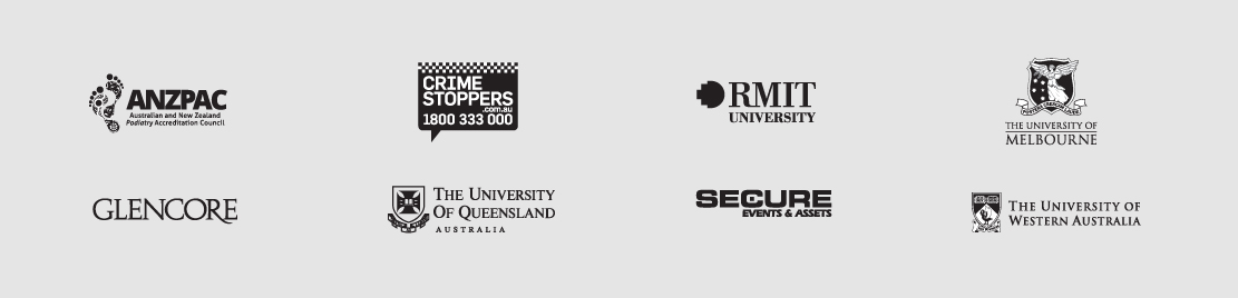 Our clients Logoland clients, RMIT, The University of Melbourne, Crime stoppers